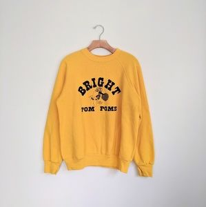 Vtg Retro Yellow Gold Cheerleading Sweatshirt M